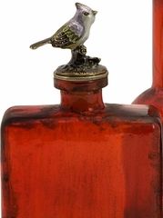 Red Bottle with Bird Stopper (Set of 3) - IMAX - 27495-3