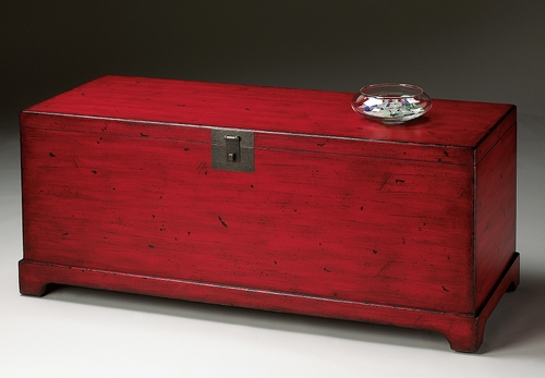 Red Cocktail Trunk in Distressed Red - Butler Furniture - BT-1572183