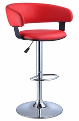 Red Faux Leather Barrel and Chrome Adjustable Height Bar Stool - Powell Furniture - 208-915