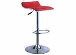 Red Faux Leather / Chrome Thin Seat Adjustable Height Bar Stool (Set of 2) - Powell Furniture - 208-847-SET