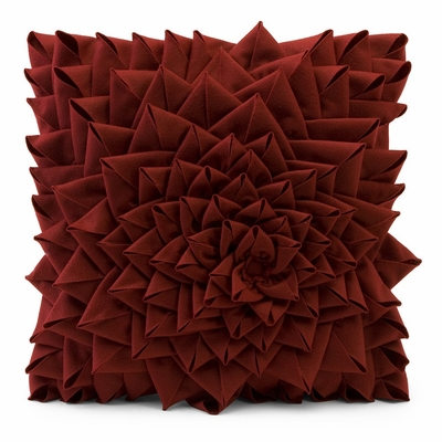 Red Fontella Hand Sewn Felt Rose Pillow - IMAX - 42118