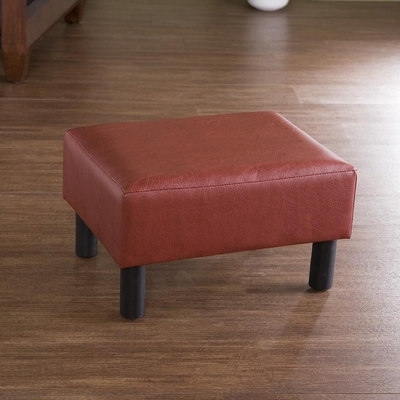 SEI Red Leather Foot Stool