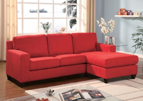 Red Microfiber Reversible Chaise Sectional - Vogue - 05917