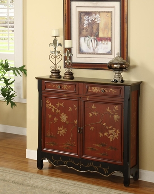 Red Oriental 2-Door Console - Powell Furniture - 246-331