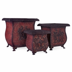 Red Planters (Set of 3) - IMAX - 1055-3