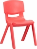 Red Plastic Stackable School Chair - YU-YCX-005-RED-GG