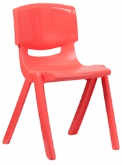 Red Plastic Stackable School Chair - YU-YCX-007-RED-GG