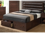 Remington Cherry Platform Bed with Upholstered Headboard - 202311Q