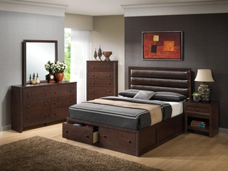 Remington Cherry Queen Bed, Dresser, Mirror, Chest and Nightstand - 202311Q