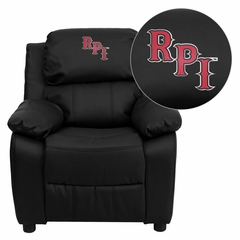 Rensselaer Polytechnic Institute Embroidered Black Leather Kids Recliner - BT-7985-KID-BK-LEA-41064-EMB-GG