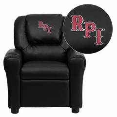 Rensselaer Polytechnic Institute Embroidered Black Vinyl Kids Recliner - DG-ULT-KID-BK-41064-EMB-GG