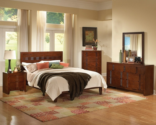 Resin California King Size Bedroom Furniture Set in Country Cherry - Coaster - 200751KW-BSET