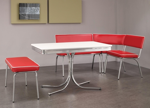 Retro Chrome Corner Nook Set in Red - 120001