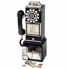 Retro Phone - 1950's Pay Phone - Black - Crosley - CR56-BK