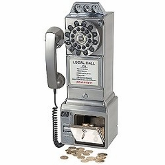 Retro Phone - 1950's Pay Phone - Brushed Chrome - Crosley - CR56-BC