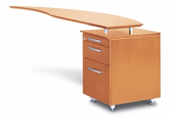 Right Desk Return with Pencil-Box-File Pedestal in Golden Cherry - Mayline Office Furniture - NRTPRGCH