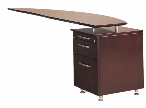 Right Desk Return with Pencil-Box-File Pedestal in Mahogany - Mayline Office Furniture - NRTPRMAH
