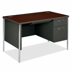 Right Pedestal Desk - Mahogany/Chrome - HON88251RNS