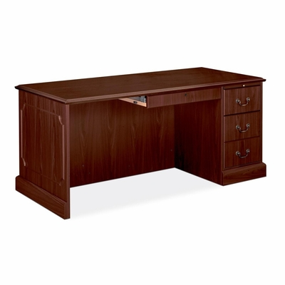 Right Single Pedestal Desk - Mahogany - HON94283RNN