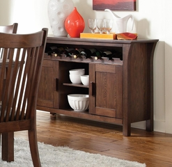 Rivera Casual Server with Wine Rack in Merlot - 103645