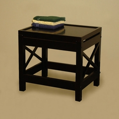 RiverRidge Home Espresso X-Frame Bathroom Stool