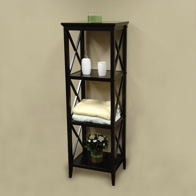 RiverRidge Home Espresso X-Frame Bathroom Towel Tower