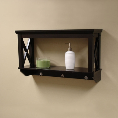 RiverRidge Home Espresso X-Frame Bathroom Wall Shelf