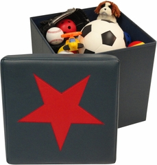 RiverRidge Kids Dark Blue / Red Storage Ottoman with Star Design