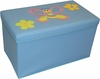 RiverRidge Kids Light Blue Large Storage Ottoman with Bee & Flowers Design
