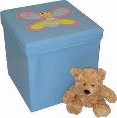 RiverRidge Kids Light Blue Storage Ottoman with Bee Design