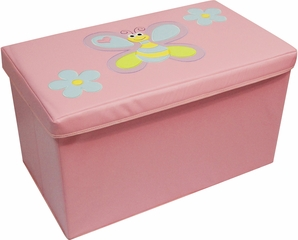 RiverRidge Kids Pink Large Storage Ottoman with Bee & Flowers Design
