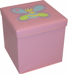 RiverRidge Kids Pink Storage Ottoman with Bee Design