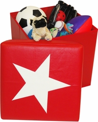RiverRidge Kids Red / White Storage Ottoman with Star Design