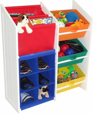 RiverRidge Kids Super Storage -  3 Primary Colored Bins, Book Holder & 6 Slot Cubby