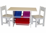 RiverRidge Kids Table with 2 Chairs & 3 Plastic Bins