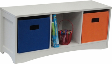 RiverRidge Kids White Bench with 3 Cubby's
