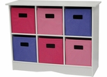 RiverRidge Kids White Cabinet with 6 Pastel Bins