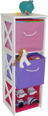 RiverRidge Kids X-Frame Storage with 2 Pastel Colored Bins & 4 Slot Cubby