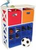 RiverRidge Kids X-Frame Storage with 2 Primary Colored Bins & 12 Slot Cubby