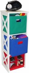 RiverRidge Kids X-Frame Storage with 2 Primary Colored Bins & 4 Slot Cubby