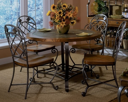 Riverside Harmony Round Dining Table Set with 4 Side Chairs - Riverside Furniture - HARMONY5PCDINSET
