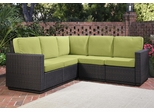 Riviera 5 Seater L-Shape Sectional Sofa with Cushions in Green Apple - Home Styles - 5803-62
