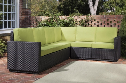 Riviera 6 Seater L-Shape Sectional Sofa with Cushions in Green Apple - Home Styles - 5803-60