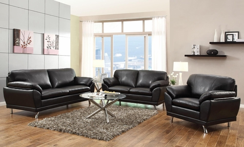 Robyn Bonded Leather 3PC Sofa Set in Black - 504501