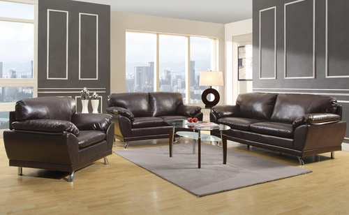 Robyn Bonded Leather 3PC Sofa Set in Dark Brown - 504511