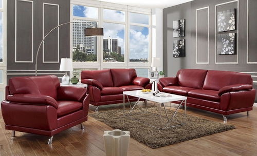 Robyn Bonded Leather 3PC Sofa Set in Red - 504521