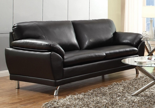 Robyn Bonded Leather Black Sofa  - 504501