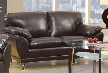 Robyn Bonded Leather Dark Brown Loveseat  - 504512