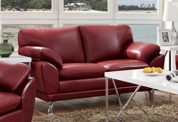 Robyn Bonded Leather Red Loveseat  - 504522