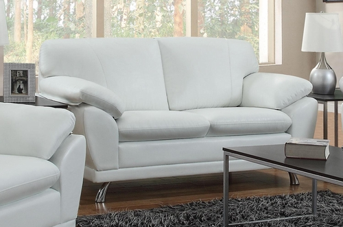 Robyn Bonded Leather White Sofa  - 504541